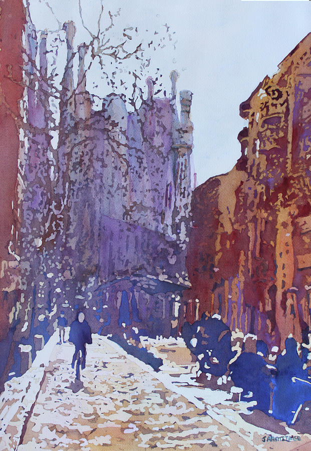 Barcelona Painting - On the Way to the Sagrada Familia by Jenny Armitage