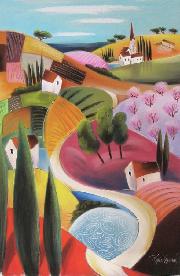 Tuscany Pastel - On The Way To The Village by Tatjana Krizmanic