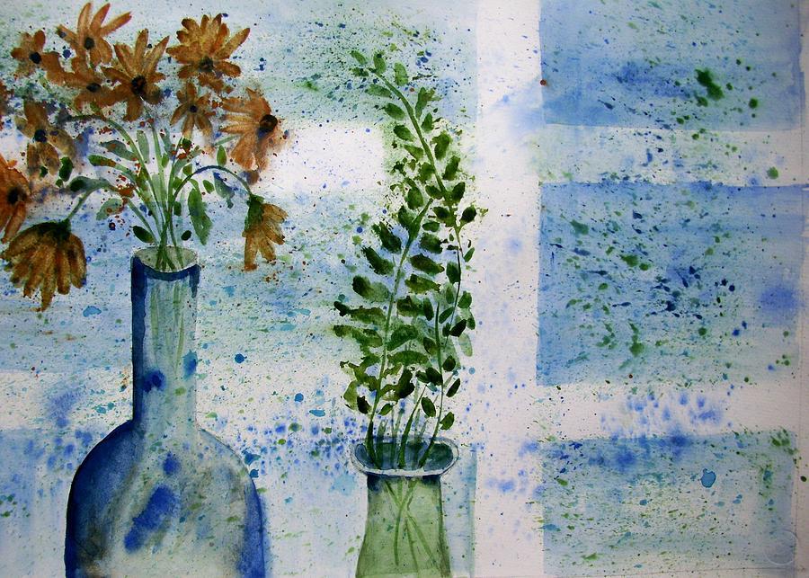 Flower Painting - On The Windowledge by Audrey Bunchkowski