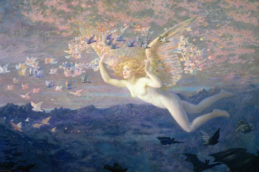 Nude Painting - On The Wings Of The Morning by Edward Robert Hughes