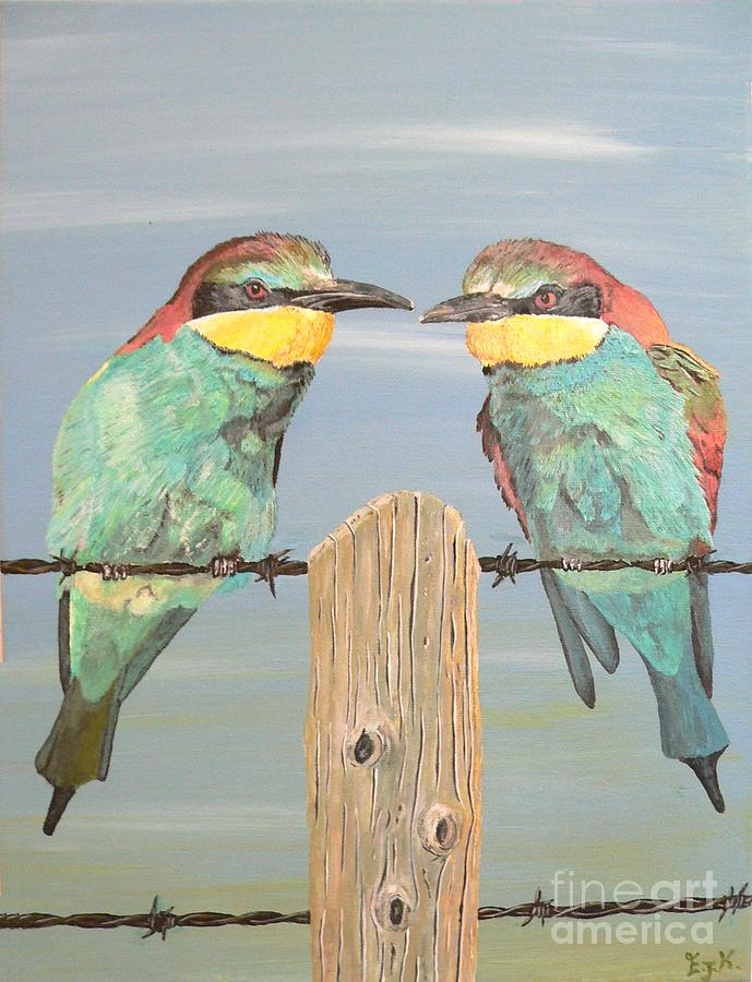 On The Wire Bee-eaters Painting by Eric Kempson