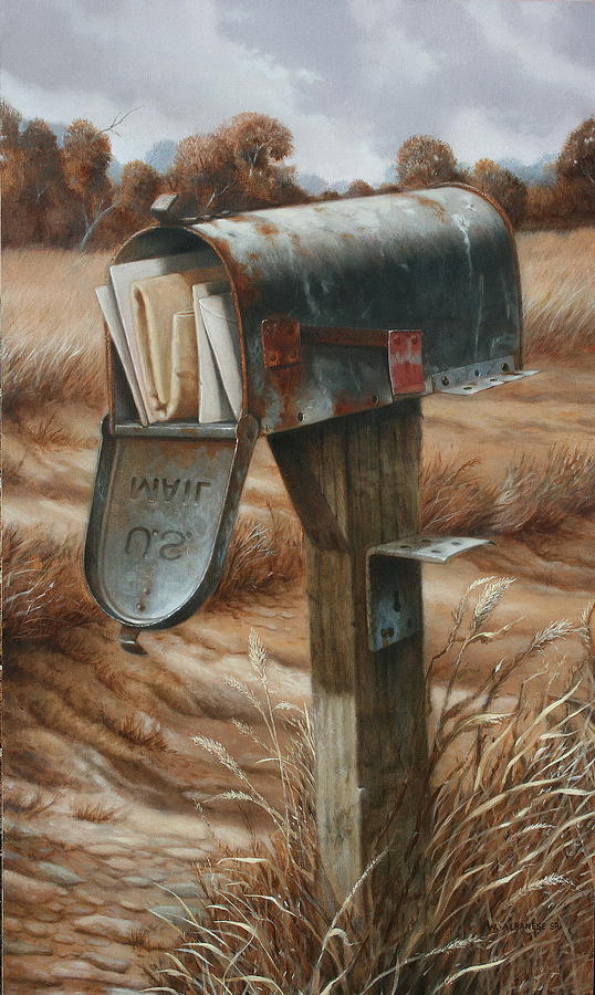 Old Mail Box Painting - On Vacation by William Albanese Sr