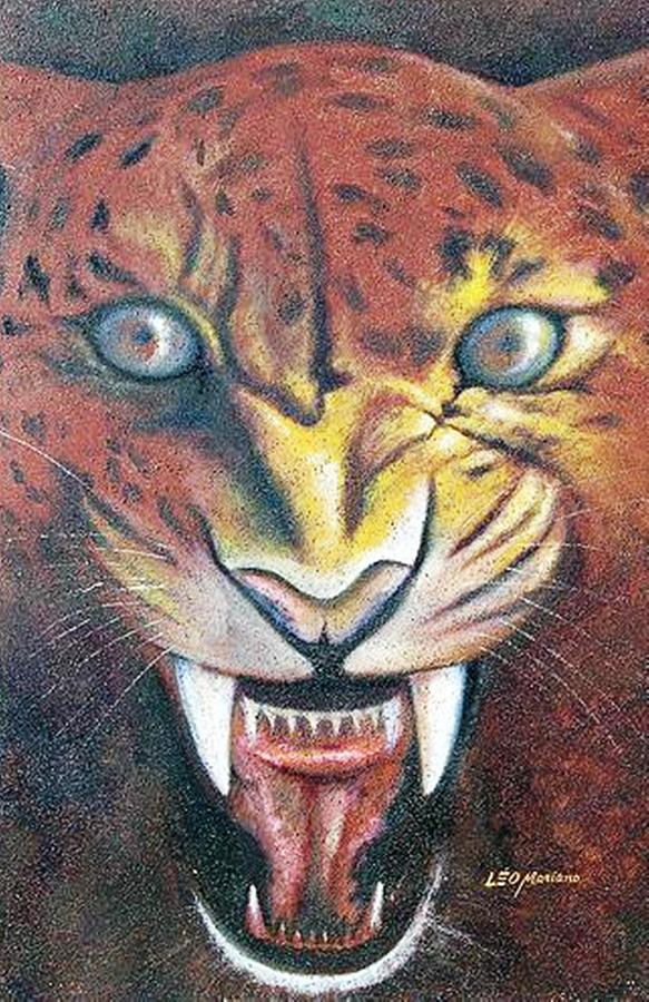 Animal Painting - Onca Pintada by Leomariano artist BRASIL