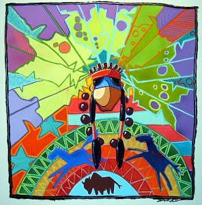 Native American Painting - Once I Dreamed I Was A Cheif Of A Great Nation by Darryl Willison