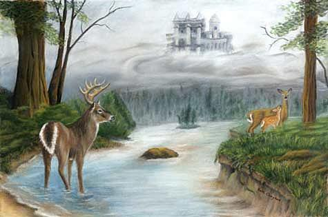 Deer Painting - Once Upon A Time by Beth Campbell
