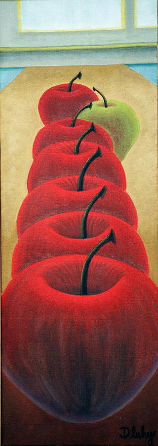 Still Life Painting - One Bad Apple by Bart  Dluhy