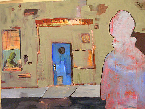 Figure Painting - One Block To The Left by Karen Geiger