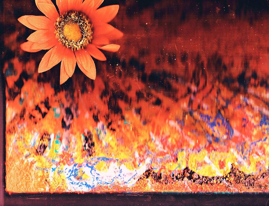 Weird Mixed Media - One Bright Flower Amidst The Chaos Survives by Anne-Elizabeth Whiteway