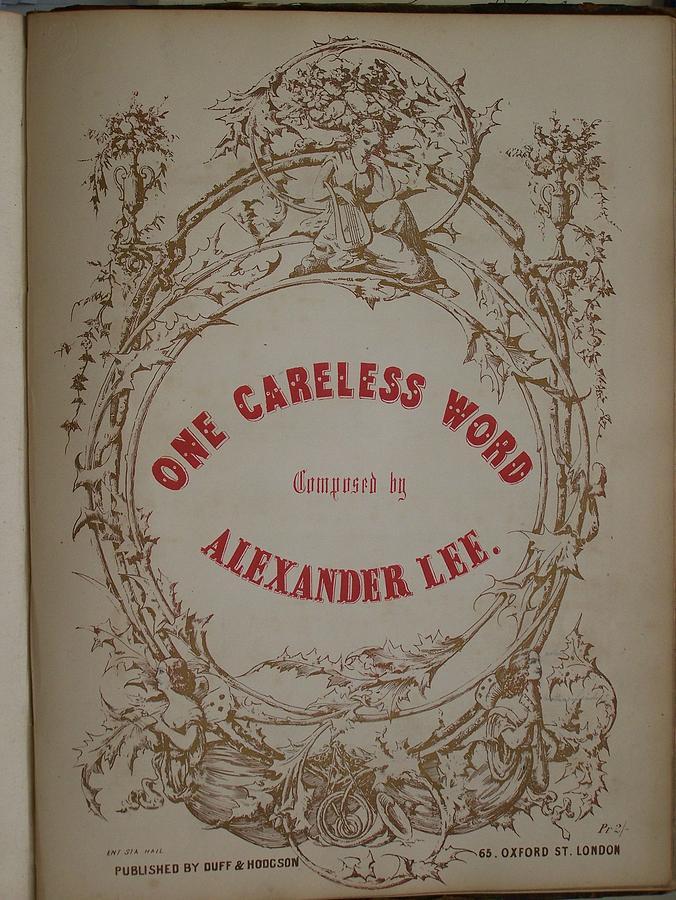 Alexander Lee Photograph - One Careless Word Sheet Music Cover Art  by Jake Hartz