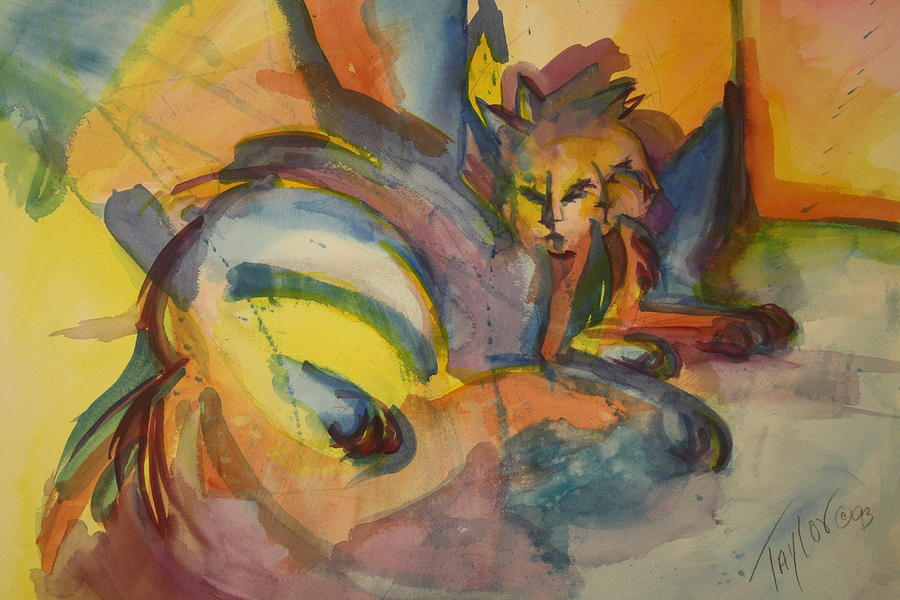 Cat Painting - One Cat Squared by Sandra Taylor-Hedges