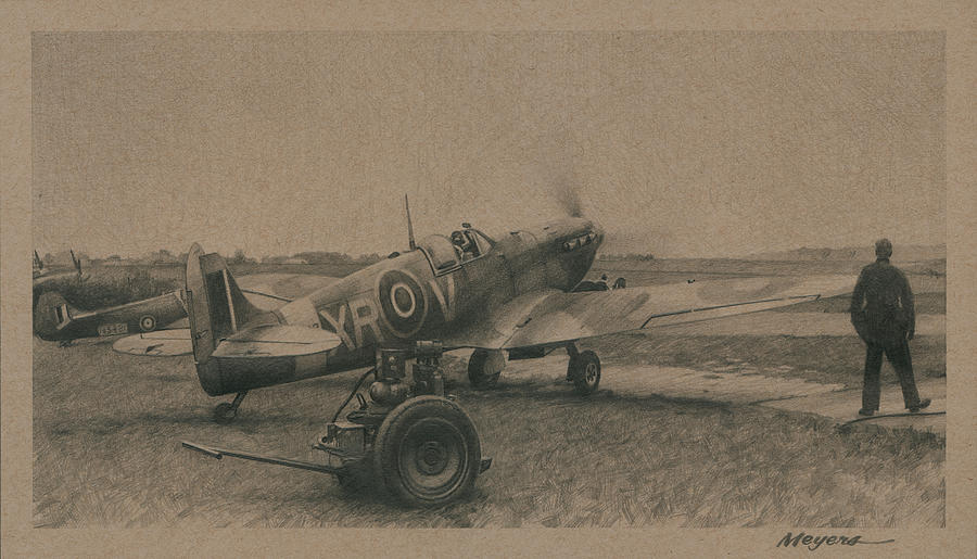 4th Fighter Group Drawing - One Day In August by Wade Meyers