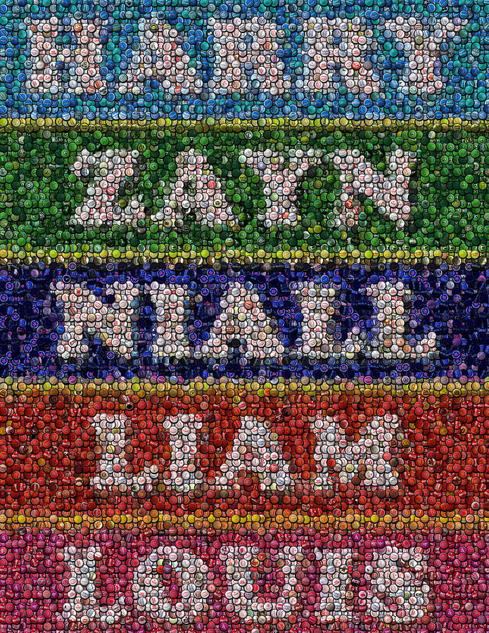 One Direction Drawing - One Direction Names Bottle Cap Mosaic by Paul Van Scott