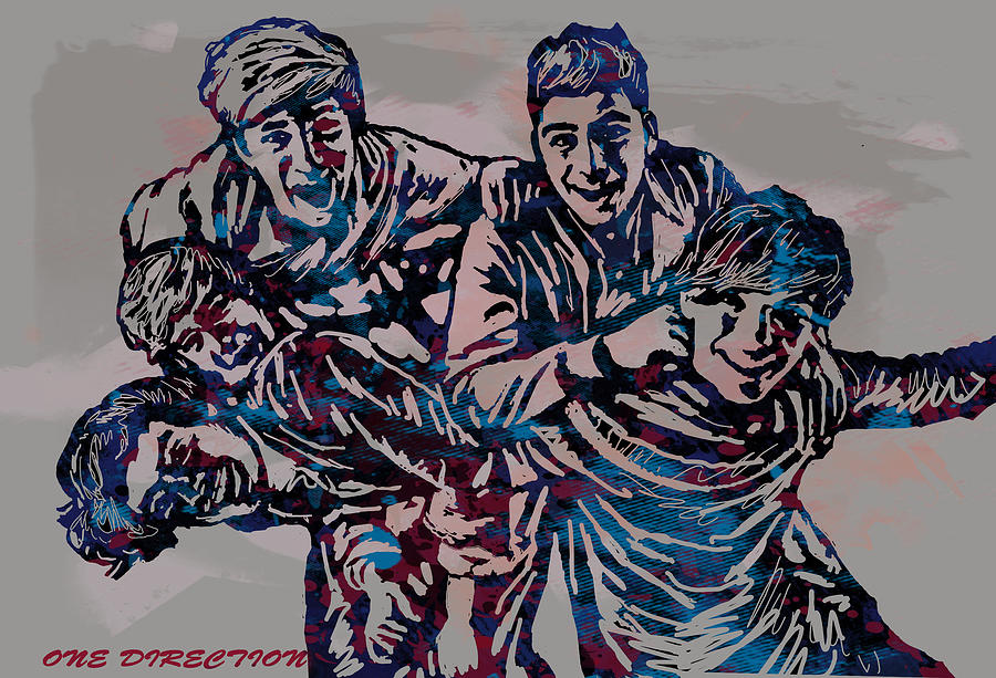 One Direction Pop Stylised Art Poster Drawing by Kim Wang