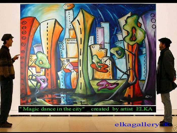 Modern Painting - One happy dance in magic city by Elizabeth Kawala