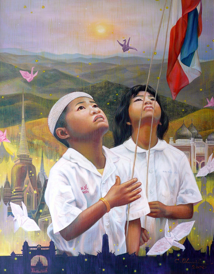 Acrylic Painting - One Heart Of Thailand by Chonkhet Phanwichien