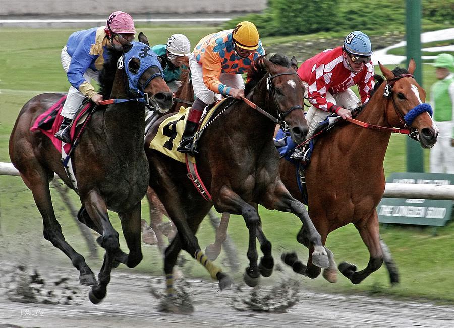 Race Horses Photograph - One Hoof Down by Bill Linn
