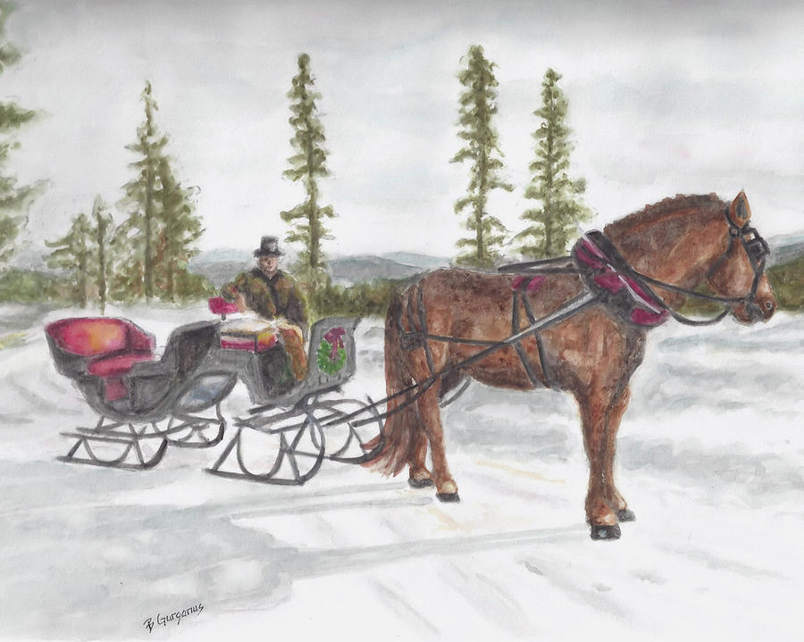 One Horse Open Sleigh Painting By Beverly Gurganus Art
