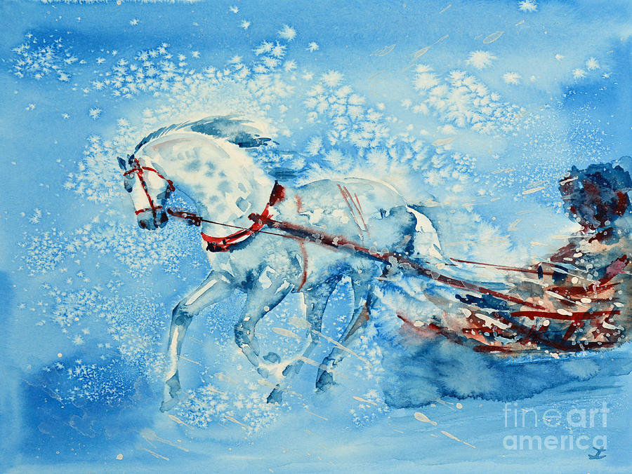 One Horse Open Sleigh Painting By Zaira Dzhaubaeva