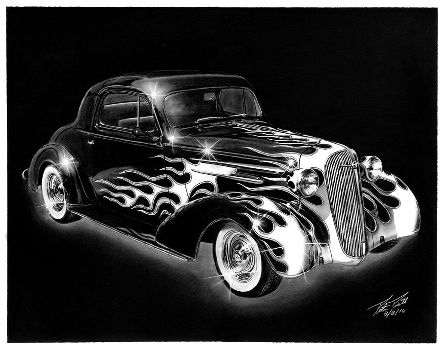 Hot Rod Drawing - One Hot 1936 Chevrolet Coupe by Peter Piatt