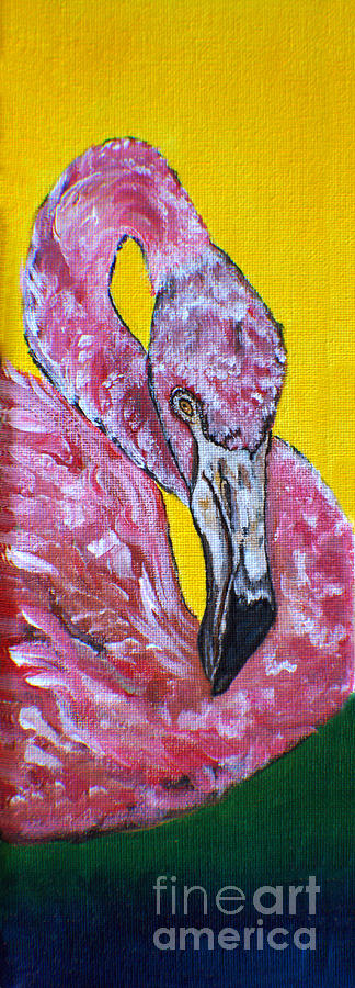 One Hot Pink Flamingo Painting
