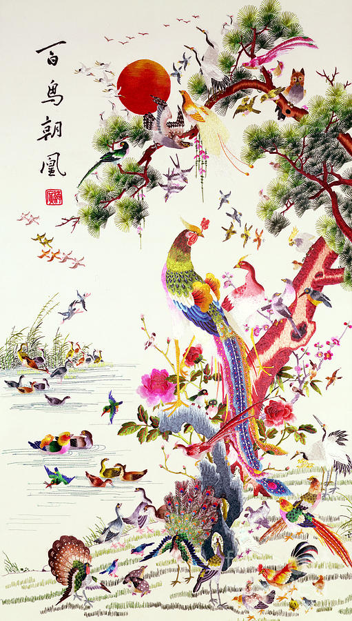 Canton Painting - One Hundred Birds With A Phoenix, Canton, Republic Period by Chinese School