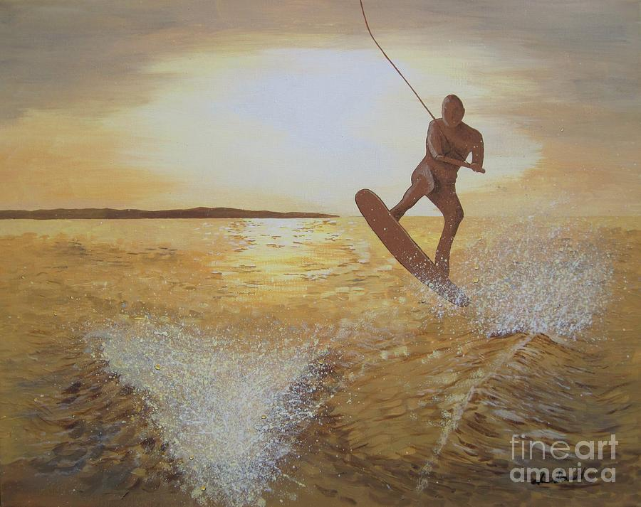 River Painting - One Last Jump by Jennifer  Donald