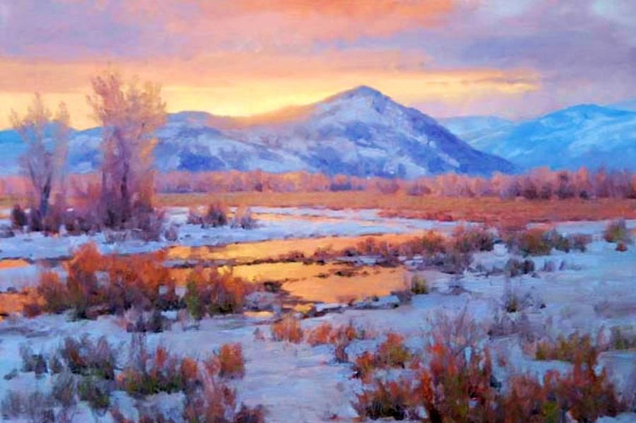 Mountains Painting - Bighorn Mountain Reflection by Joseph Barani