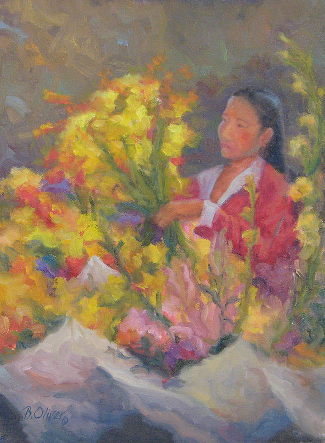Woman Painting - One More Bouquet by Bunny Oliver