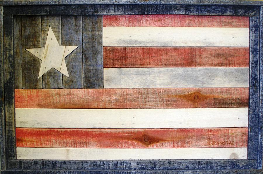 Flag Mixed Media - One Nation by Rod Skramstad