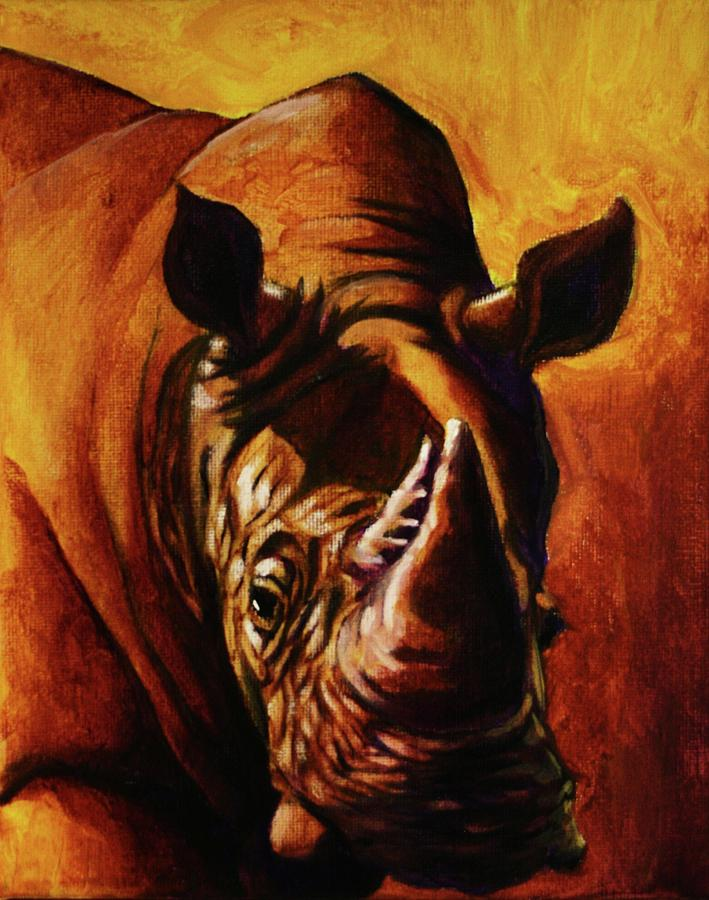 Rhino Painting - One Of Few by Jerry Frech