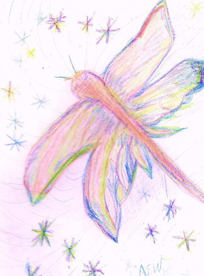 Fly Drawing - One Of My Wings Is Broken And Sprained by Anne-Elizabeth Whiteway