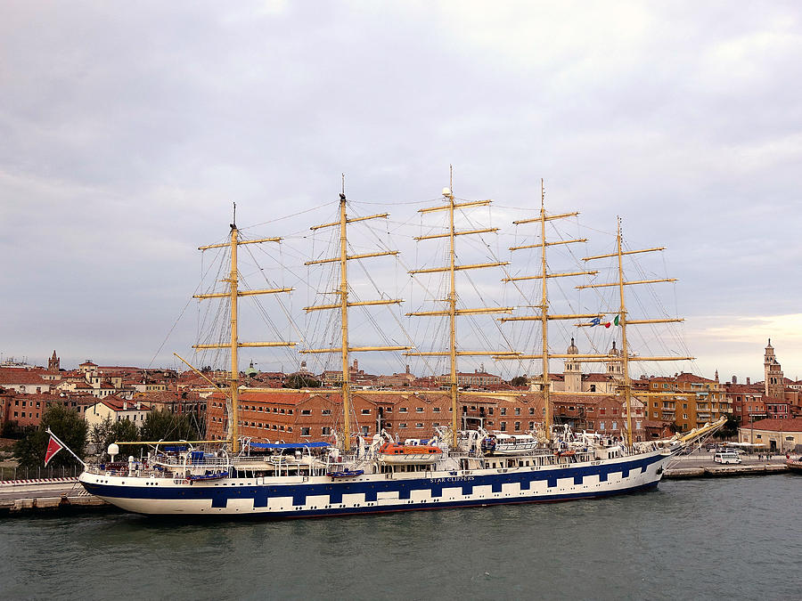 Venice Photograph - One Of Star Clippers Masted Cruise Liners Docked In Venice Italy by Richard Rosenshein