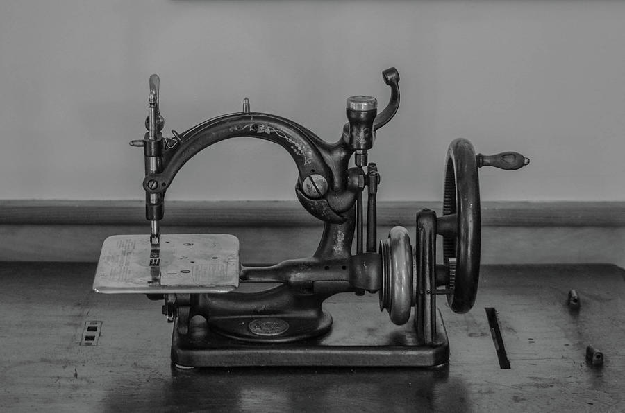 Antique Photograph - One Of The First Sewing Machines by Linda Howes