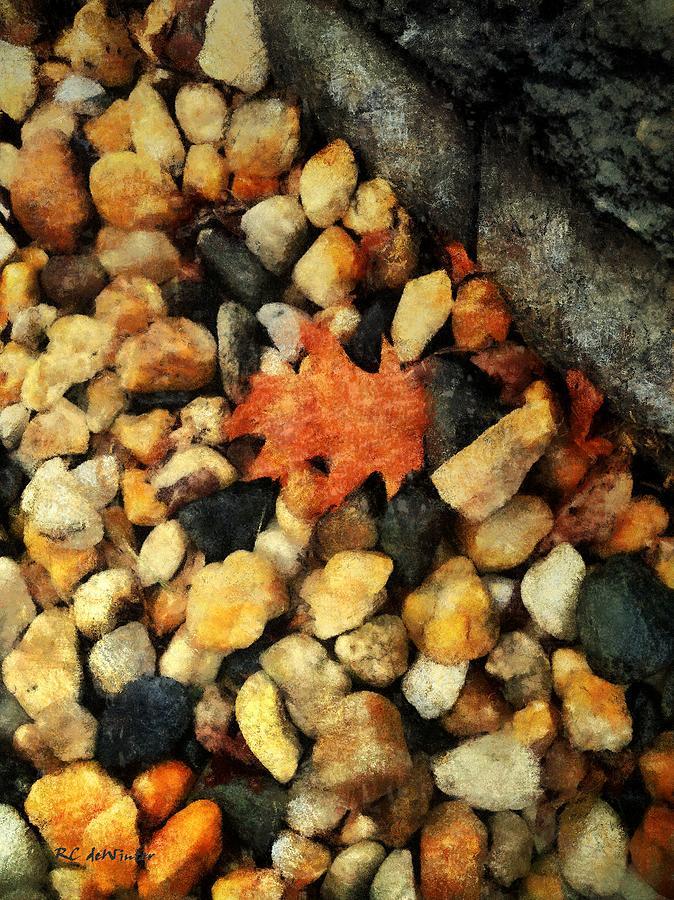 Leaf Painting - One Orange Leaf by RC deWinter
