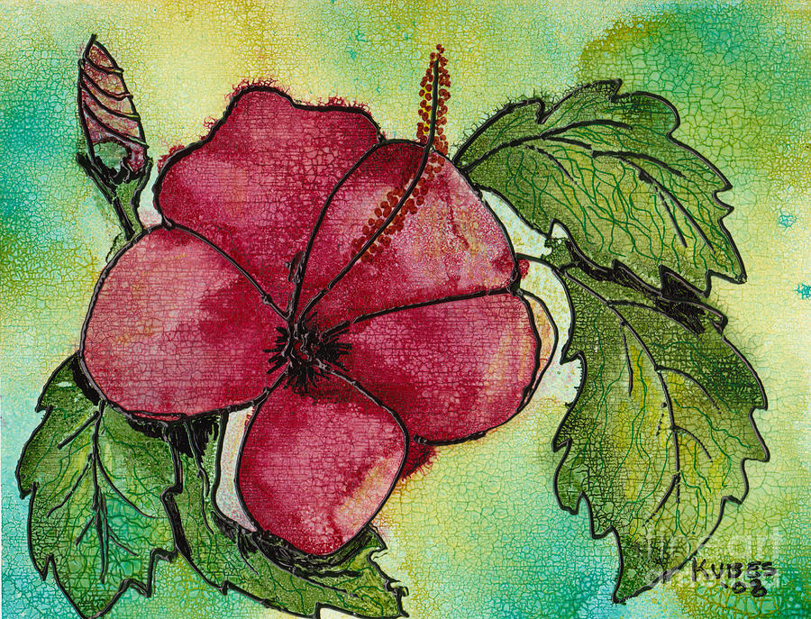 Flower Painting - One Pink Hibiscus by Susan Kubes