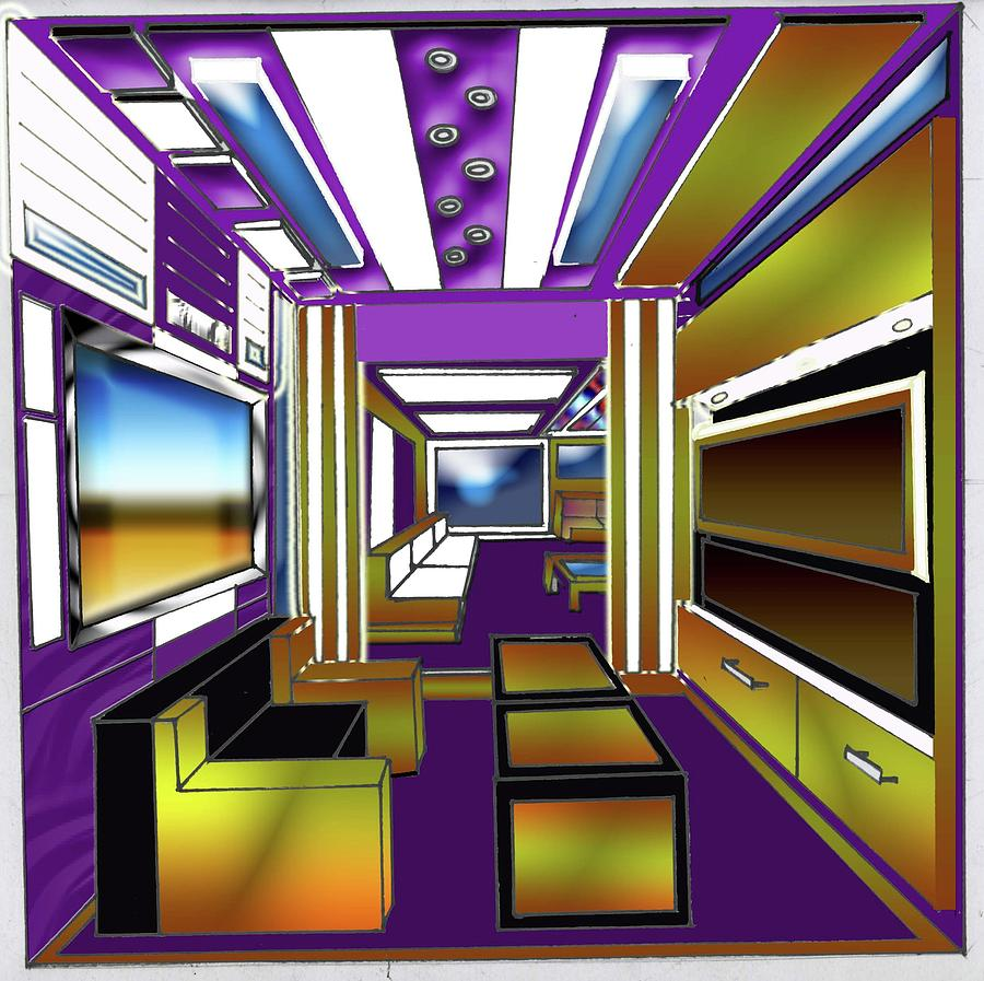 One Point Perspective Interior Design Arohanai Drawing By Savana Smith