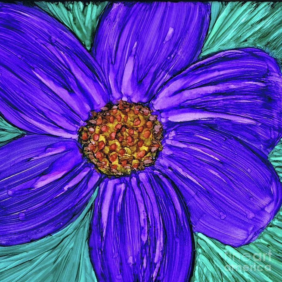 One Pretty Purple Flower Painting By Hao Aiken
