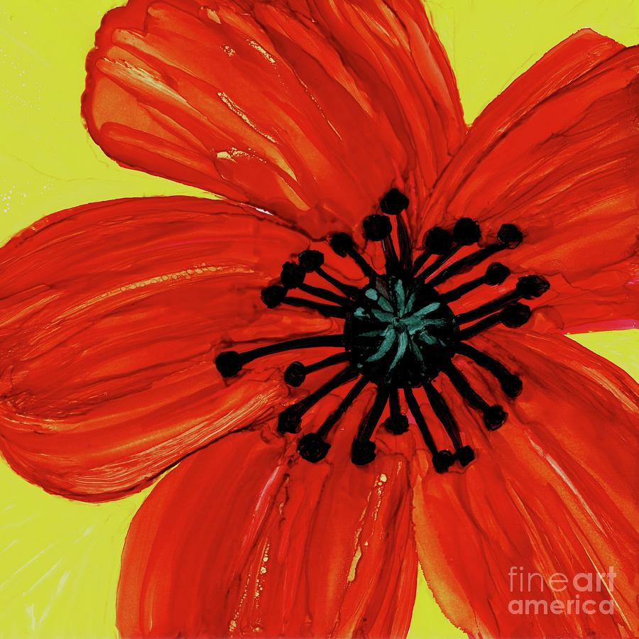 One Pretty Red Poppy Flower Painting By Hao Aiken