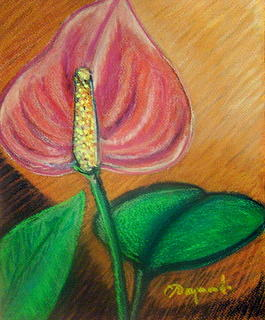 One Red Anthurium Painting by Yasemin Raymondo