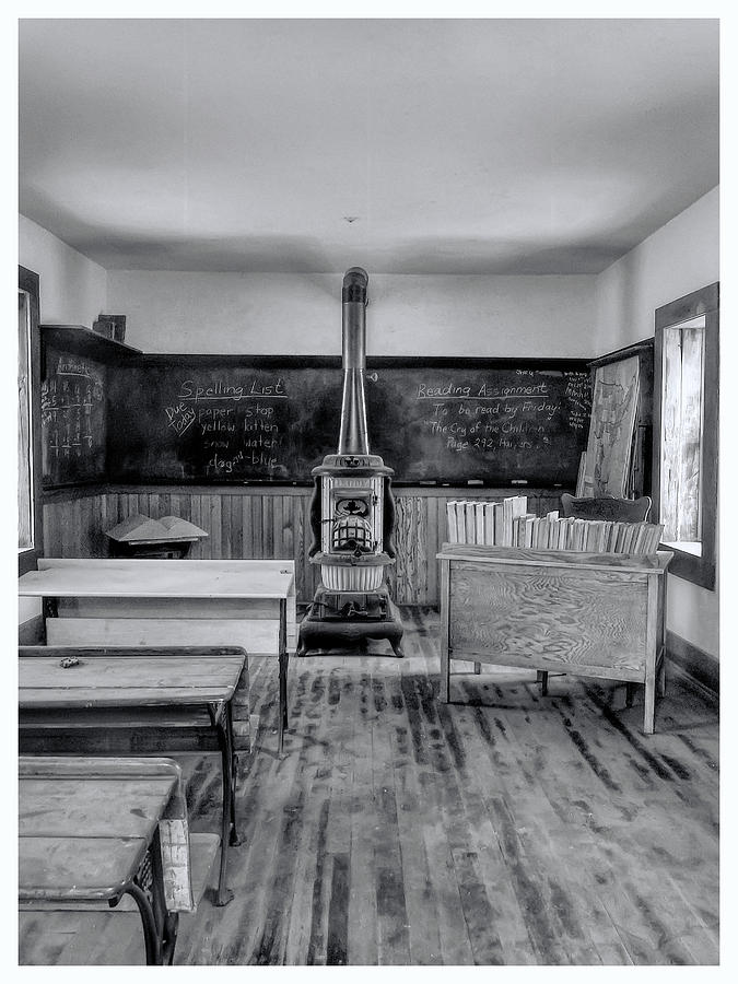 One Room School Black and White by Alan Hutchins