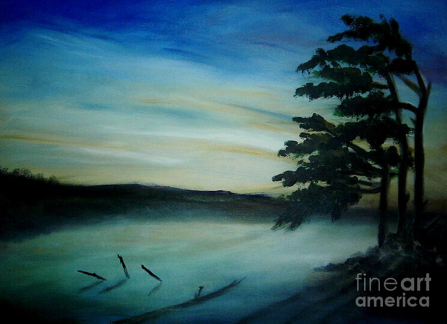 Landscape Painting - One Sided by Vivian  Mosley