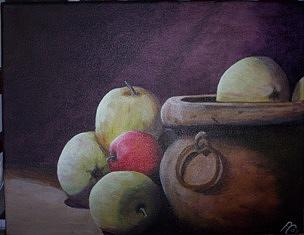 Still Life Painting - One Small Red  by Pat  Corbett
