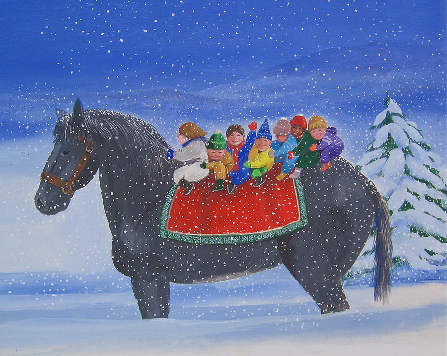Horse With Kids In Snow. Painting - One Snowy Day by Richard Yoakam