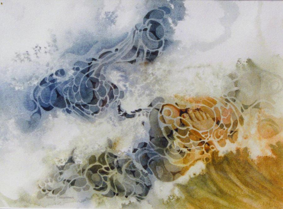 Water Painting - One-step-at-a-time by Nancy Newman