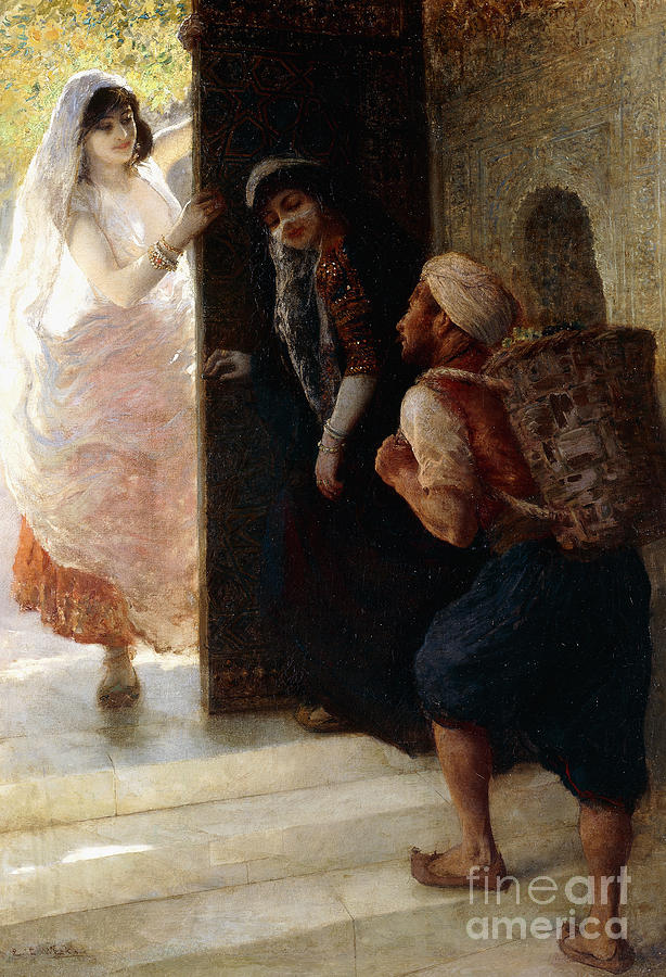 One Thousand And One Nights Painting - One Thousand And One Nights, The Porter Of Baghdad by Edwin Lord Weeks