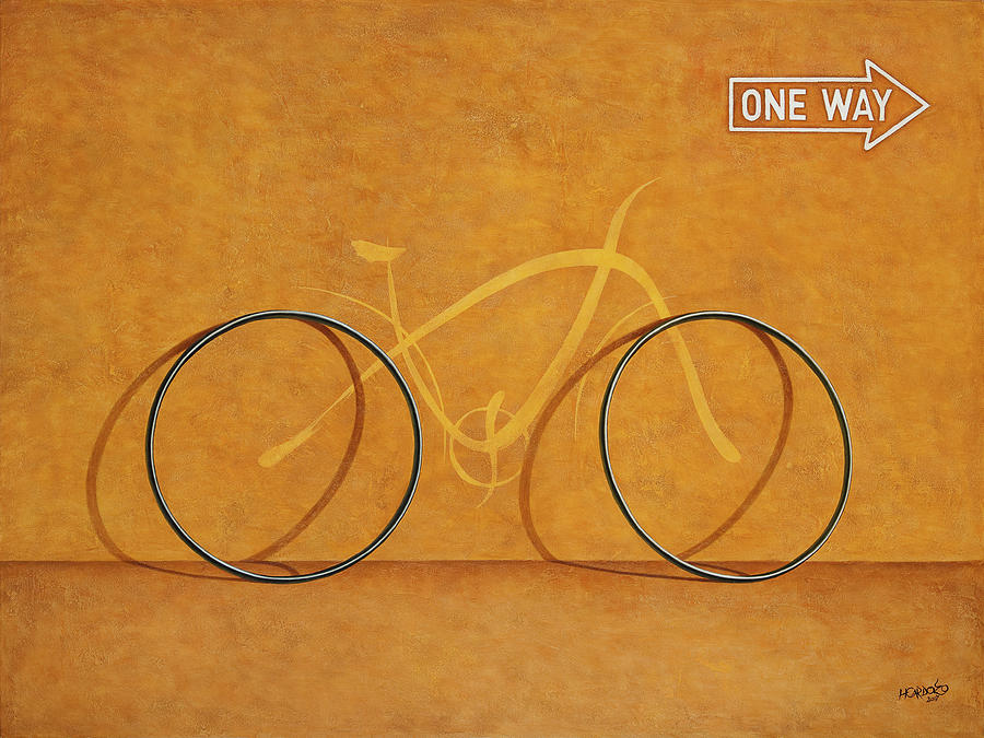 Bike Painting - One Way by Horacio Cardozo