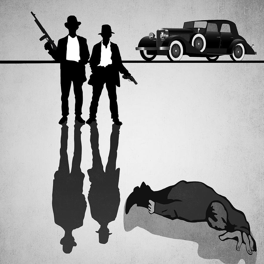 Mafia Digital Art - One-way Ride by Daniel Hagerman