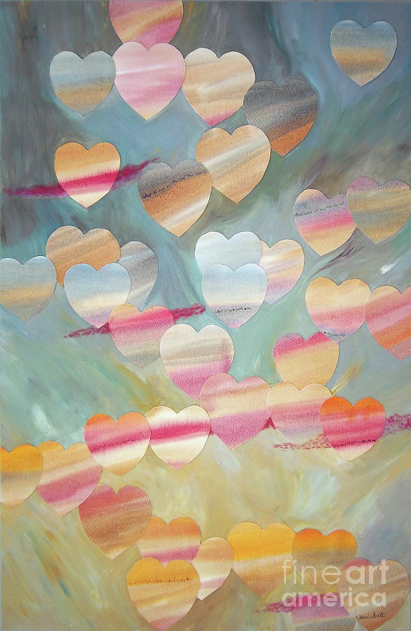 Hearts Painting - One With The Sky by Jeni Bate