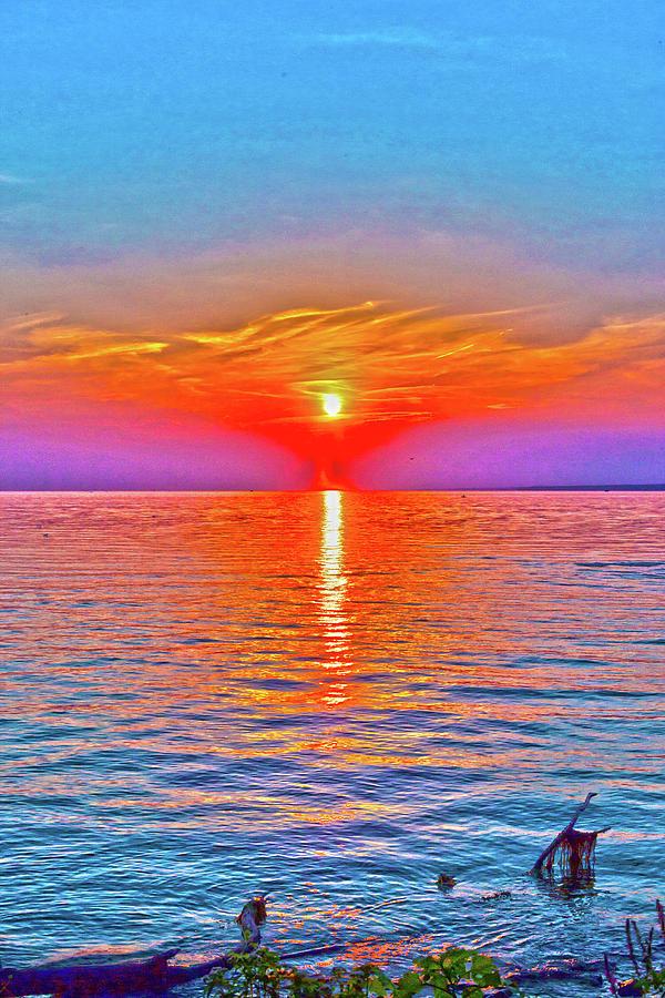 Sunset Digital Art - Oneida Lake Sunset Art by David Stasiak