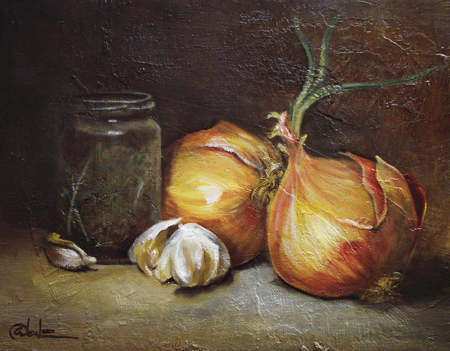 Vegetables Painting - Onions And Garlic  by Alex Loza